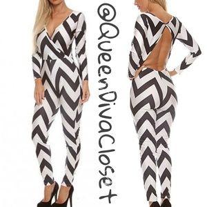 Pants - Black White chevron zig zag long sleeve jumpsuit
